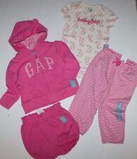 baby Gap NWT 4 Pc. Outfit Set Lot Logo Hoodie Bodysuit Pants Shorts