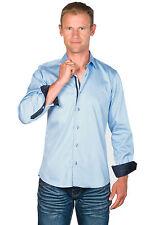 Ugholin - Chemise Homme Coton Easy Iron Ajustée Unie Bleue Ciel Manches Longues