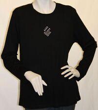 Hajo - Weiches Viskose Shirt Langarm, höherer Rundhals - schwarz 38 - 48