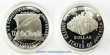 USA  ,  DOLLAR  ARGENT  1987  ,  BICENTENAIRE DE LA CONSTITUTION , PROOF , FDC