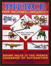 Pierce VICTOR falciatrici Fattoria macchine in metallo stile Retrò Vintage, Segno Di Placca Muro