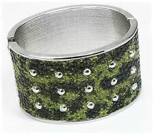 NEU 18cm ARMREIF Schlangenleder Optik KLAPPVERSCHLUSS grün/silber ARMREIFEN