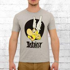 Logoshirt Männer T-Shirt Asterix Portrait grau melange Comic