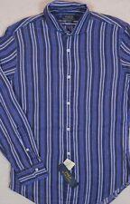 Polo Ralph Lauren Shirt Linen Stripe Slim Fit Button-Front M & L NWT $125