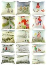 Christmas Winter Cushion COVER only, by Sue Fenlon, Snow Sledge Winter fun