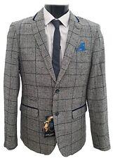 Da Uomo Designer Marc Darcy Blazer in Tweed controllato KIRK-Grigio/Blu Marino