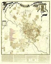 Old City Map - Dallas, Suburbs Texas Landowner - Murphy 1891 - 23 x 28.56