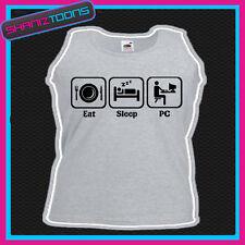 EAT SLEEP PC COMPUTER GEEK FUNNY  UNISEX VEST TOP