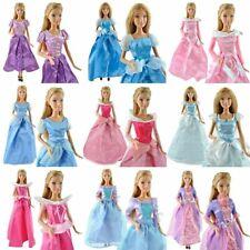 2x Handmade Princess Ball Gowns Wedding Dresses 4 Barbie Sized Dolls UK Dispatch