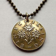 Austria 1 Schilling coin pendant Edelweiss flower necklace Österreich n000443