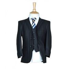 Boys Suit Italian Fitted Wool Mix Self Stripe Black Pageboy Wedding Prom