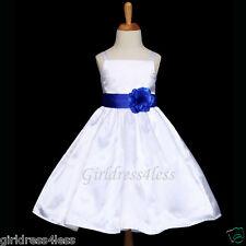 US SELLER WHITE/ROYAL BLUE SPAGHETTI STRAPS FLOWER GIRL DRESS 18M 2 4 6 8 10 12