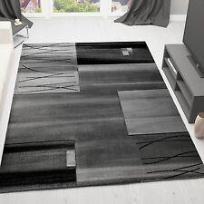 Teppich Modern Designer Klassik Kariert Gestreift in Grau versch Größen