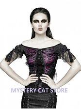 New PUNK RAVE Gothic Rock Blouse Shirt Lace Top Black&VI T-446 AUSTRALIAN STOCK