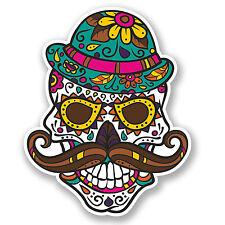 2 x Sugar Skull Vinyl Sticker Decal iPad Laptop Moustache Hipster Gift Fun #4737