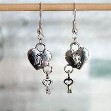 Antique Silver/Bronze Love Heart Lock & Key Charm Drop/Dangle Earrings
