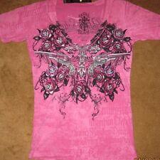Rebel Saints AFFLICTION 2 Sided Embellished PINK  Alaina Burnout Femme Fatale