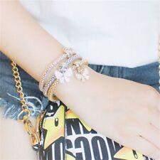 Chain Bangle Multilayer Charm Bracelet Rhinestone  Butterfly/Heart  Pendant
