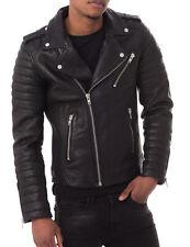 Men's Stylish Motorcycle Biker Genuine Lambskin Nappa Leather Jacket Mj 56