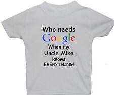 Google personalizado tío nombre Bebe Niños Camiseta Top NB-5-6yrs Unisex Regalo