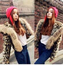 2019Hot Outdoor Women Clothes Fur Hood Short  Leopard Jacket Coat Sexy Cardigan