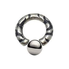 0ga Fixed Ball Circular Barbell 316 Surgical Steel - Black Enamel Design - 36715