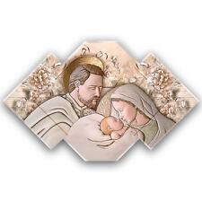 Sacra Famiglia - Quadro sacro moderno su pannello in legno sagomato | 2 misure