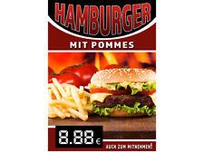 Aufkleber / Plakat / Poster - HAMBURGER MIT POMMES WERBUNG - versch. Din-Formate