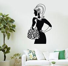 Wall Decal Beautiful Woman Fashion Handbag Shopping Vinyl Stickers (ig2913)