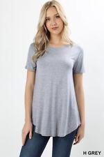Women Casual Rayon Short Sleeve Round Neck Work Tee Shirt Top