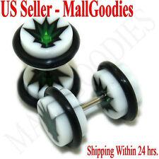 0276 Fake Faux Cheaters Illusion Plugs 16G Marijuana Pot Leaf Weed 0G Earrings
