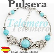 PULSERA brazalete PIEDRA NATURAL imitando TURQUESA color plata ENVIO DESD ESPAÑA