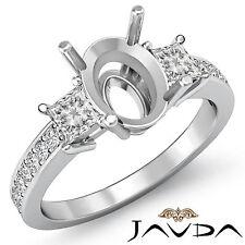 Diamond Engagement 3 Stone Unique Ring Princess Oval Mount 18k White Gold 0.8Ct