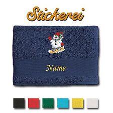 Handtuch Duschtuch Badetuch bestickt Stickerei Schneeman auf Snowboard + Name