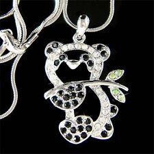 w Swarovski Crystal Black White ~PANDA BEAR Bamboo Chinese China emblem Necklace