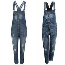 Ladies Girls Jeans Denim Full Dungaree Omnia Slim Fit Jumpsuit Pinafore Overall