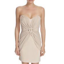 Lipsy Nude Beige Strapless bandeau Ruffle Chiffon Dress Party 6 8 10 12 RRP £69
