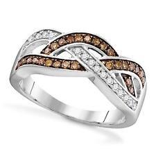 Chocolate Brown White Diamond Twist Ring Band 10K white Gold .35ct Sz 5 6 7 8 9
