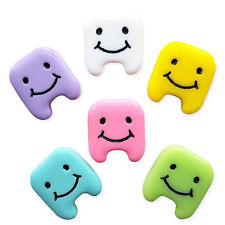 6pcs Colore Smiley denti in resina Flatback Cabochon Abbellimento Kawaii Craft