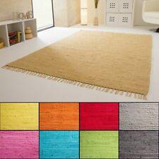 Handwebteppich Indira 100% Baumwolle 9 Farben Handweb Teppich Fleckerl