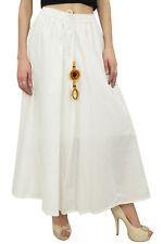 Bimba Women's White Bohemian Style Elastic Waist Cotton Skirt With Tassels