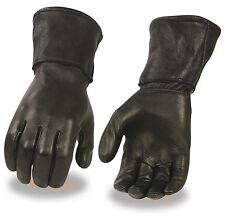 Men's Deerskin Leather Thermal Lined Long Cuff Motorcycle Gauntlet Glove Premium