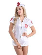 Women's Leather Sexy Nurse Outfit Fancy Lingerie Dress Uniform Cosplay Costume