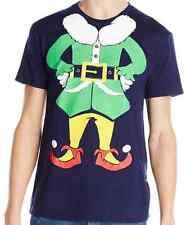 Body Rags Men's Elf Man Ugly Christmas T-Shirt, Blue