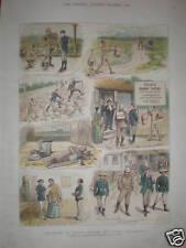 Los turistas Japón intentar escalar Fusi-Hama dibujos animados 1882