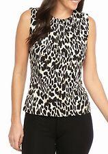 NWT-Calvin Klein ~Sizes XS-S-M-L-XL~ Leopard Pleat-Neck Sleeveless Top Blouse