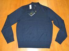Brooks Brothers Saxxon Wool Half Zip Pullover Sweater Navy NWT $198
