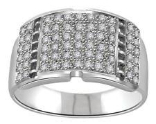 Mens Engagement Round Diamond Ring VVS1-2 0.70Ct Pave Set 14Kt Solid White Gold