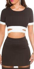 Sexy Crop Top Shirt zweifarbig mit Cut Outs schwarz/weiß Gr. S oder M neu