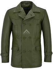 Mens Leather Long Jacket Pea Coat Marshal Combat World War 2 COWHIDE COAT DR-WHO
